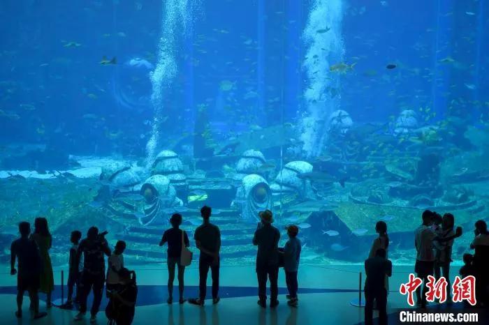 """La imagen muestra a los turistas viendo el """"Mundo submarino"""" en el Hotel Atlantis en Sanya, Hainan. Foto de Luo Yunfei"""