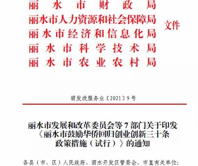 """丽水市出台30条鼓励华侨回归政策措施""""问海借力""""激发新动能"""
