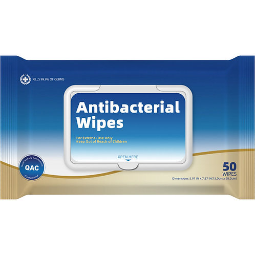 Antibacterial Wet Wipes In Resealable Pouch - 50 count