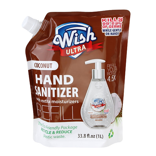 Wish Ultra Hand Sanitizer Refill 33.8oz Coconut Scent with Extra Moisturizer