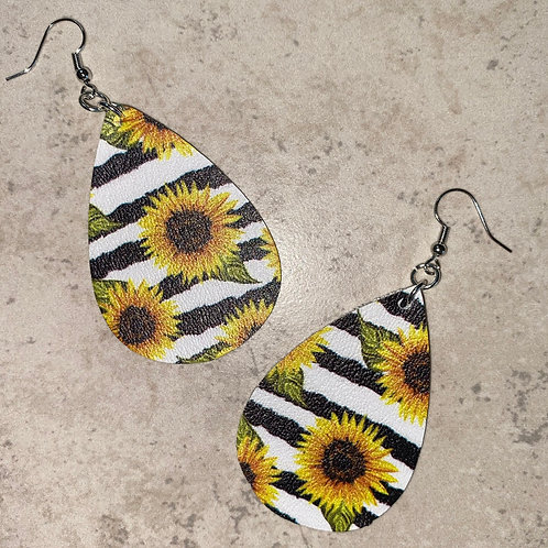 Sunflowers and Stripes Faux Leather Earrings
