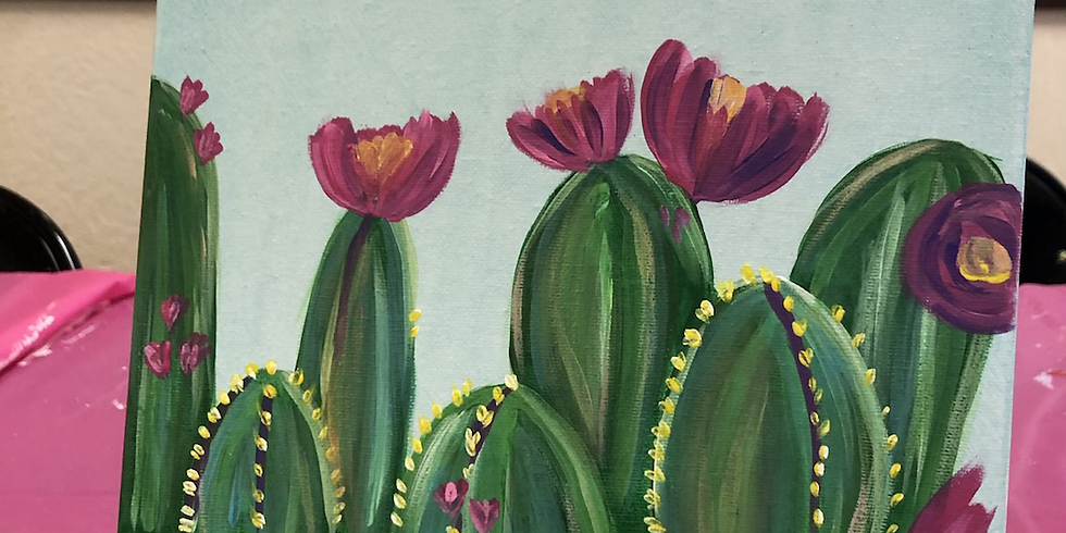 Colorful Cactus Canvas Paint w/ walk in option (1)