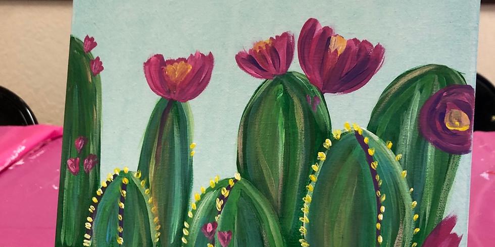 Colorful Cactus Canvas Paint
