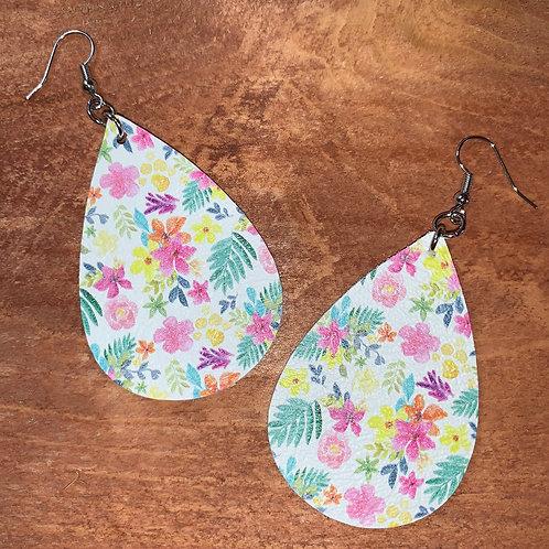 Tropical Tear Drop Faux Leather Earrings
