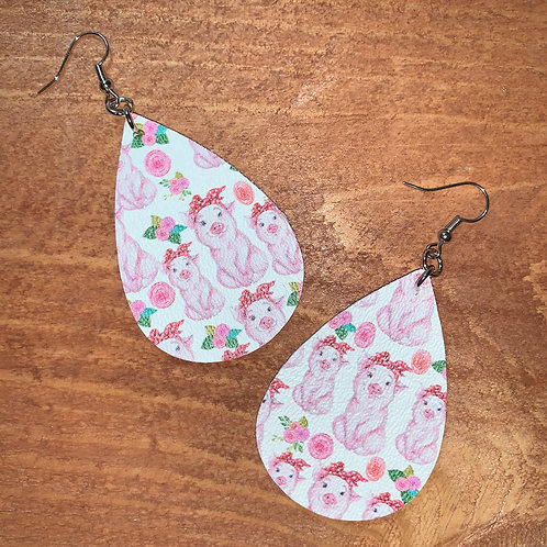 Pig Faux Leather Earrings