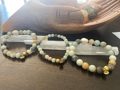 aventurine with freshwater pearl only 3 available