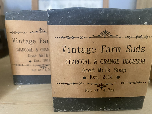 Charcoal and orange blossom goat milk soap