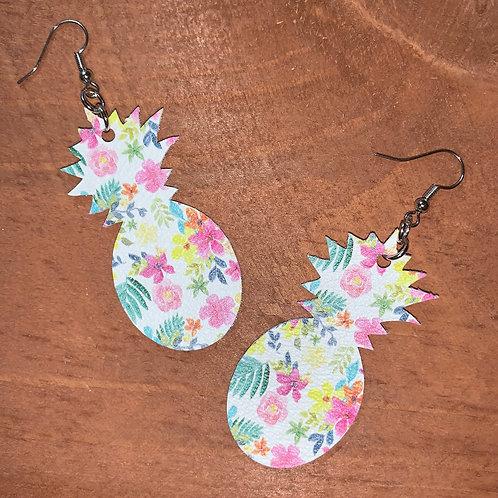 Tropical Flower Faux Leather Earrings