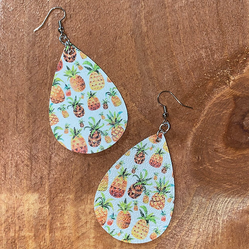 Pineapple Faux Leather Earrings