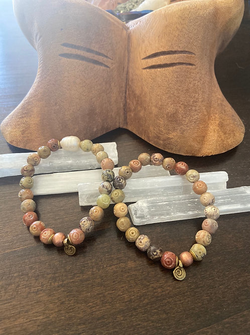 Soapstone and freshwater pearl ONLY 2 available No two look alike
