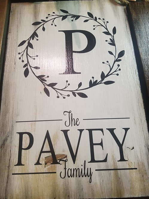 Family Sign with Wreath