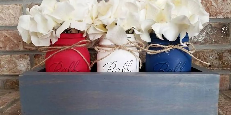 4th of July Centerpiece Box with Jars