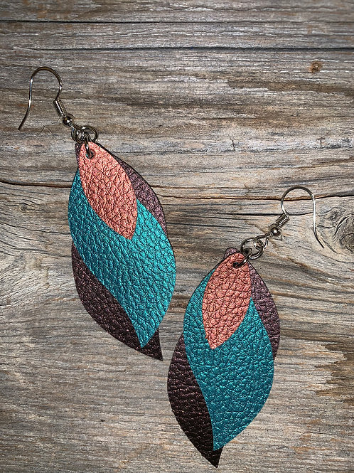 Layered Faux Leather Earrings