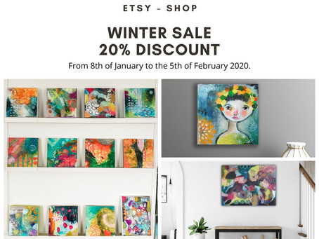 You can get now a beautiful artwork and more in my Etsy Shop with a great discount of 20 %.