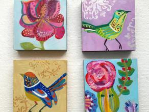 4er Set kleine Acrylmalerei