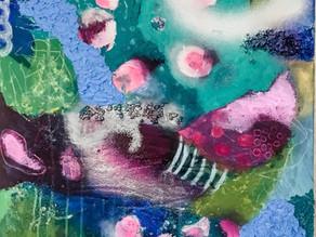 Abstrakte Malerei mit Oberflächenstrukturen