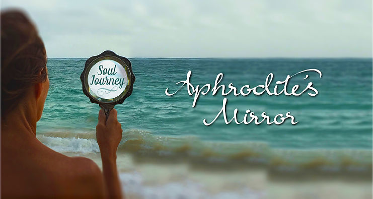 woman aphrodite's mirror by the ocean