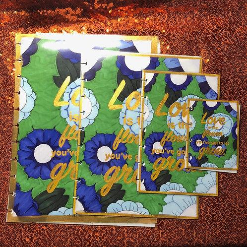 Blue Floral Planner Cover