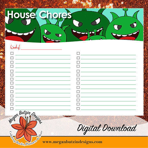 House Chores Chart - Digital Download