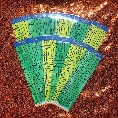 Circuit Board Monthly Planner Tabs