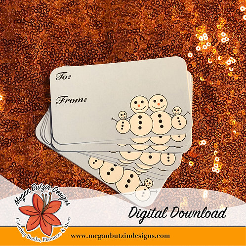 Digital Download Snowpeople gift tags