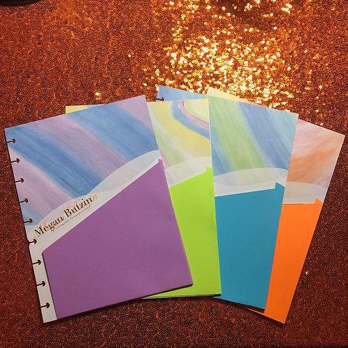 Mini & classic  Planner Pocket Folders (set of 4 Bright Watercolors)