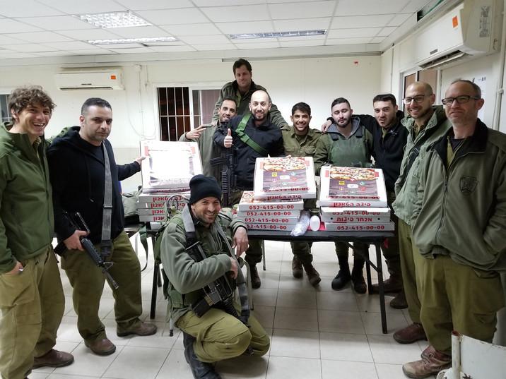 IDF Reservists enjoying Pizza