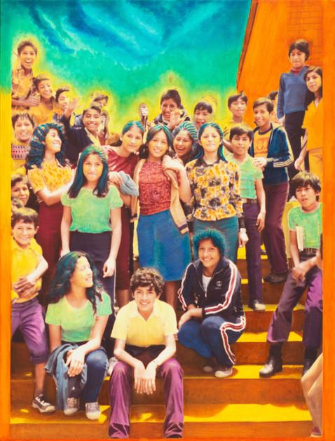 SCHOOL KIDS ON STEPS