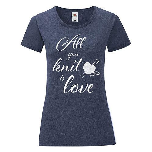 Тениска All you knit is love синьо