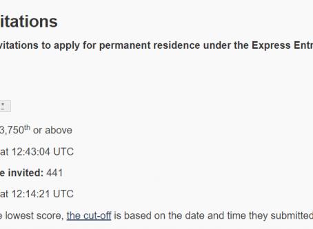 最新EE抽签分数低至441分