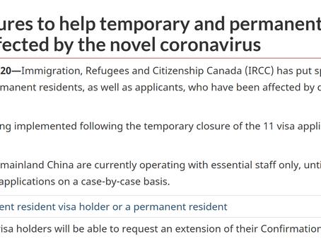 IRCC针对受新冠疫情影响的申请人发布应急措施