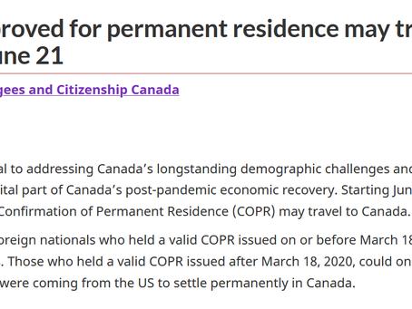 今天起,COPR PR登陆信持有人可以登陆加拿大