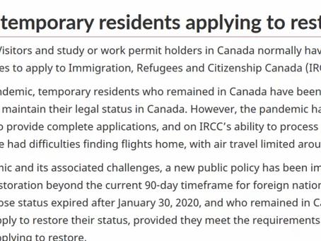 加拿大境内临时居民身份过期,恢复身份(restoration)可申请时间延长