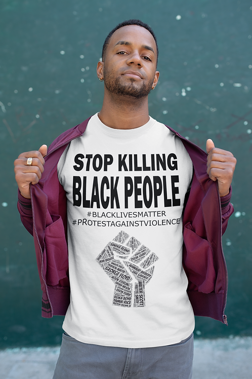 Stop killing black people Adult Tshirts Sizes S-XL, short sleeved