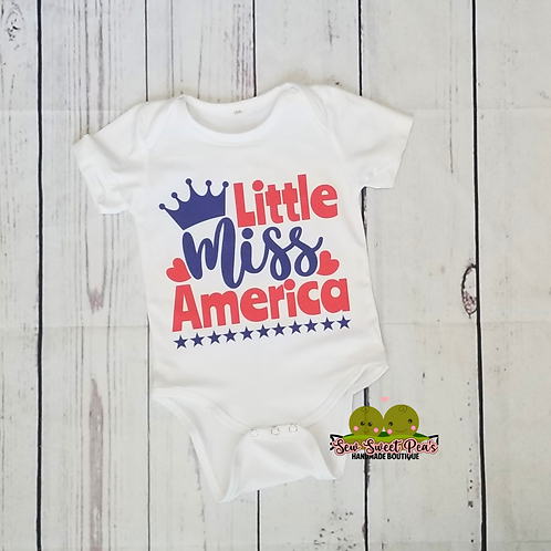Little Miss America onsie sizes 3m-24m available, 4th of july