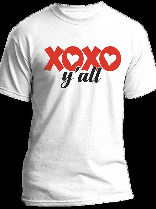 XOXO Ya'll Adult Tshirts Sizes S-XL, short sleeved, WHITE,