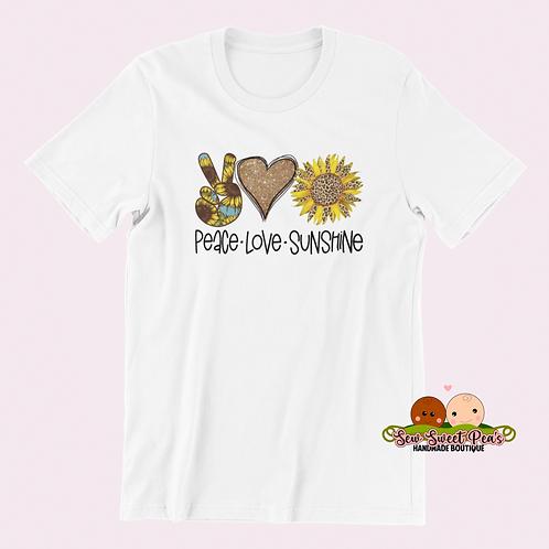 Peace, love, sunshine Adult Tshirts Sizes S-XL, short sleeved