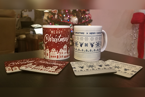 Mug & 2 Coasters Set: Christmas themed