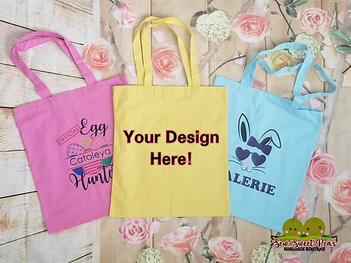 Personalized Easter Canvas Tote, choose from 4 designs