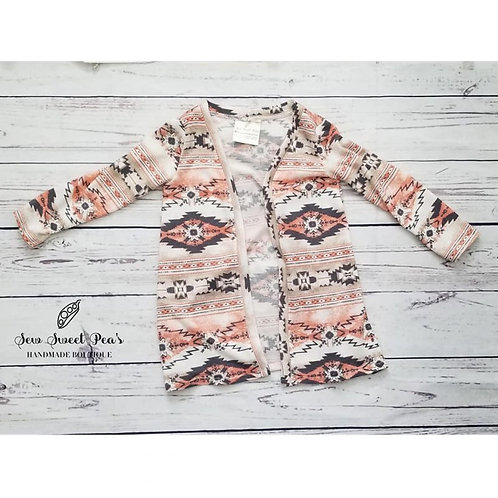 Aztec Cardigan youth 2T-4, light weight sweater, long sleeved by Sew Sweet Pea's