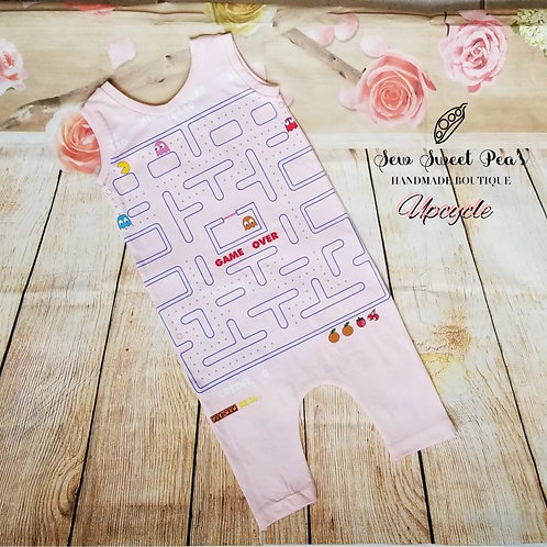 Gameover Pacman romper in pink 18-24 months upcylce, tank top romper, one piece,