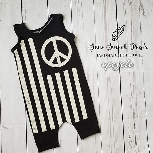 peace flag up-cycled romper size 18-24 months, flag, shorts