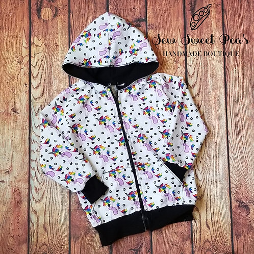 Dabbing Unicorn Zip-Up Hoodie Size 5y