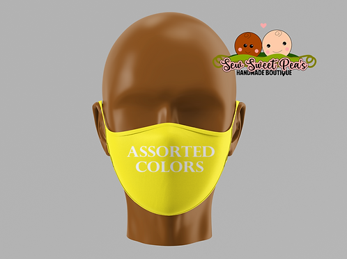 Basic solid colored cotton masks, toddler, child, adult sizes