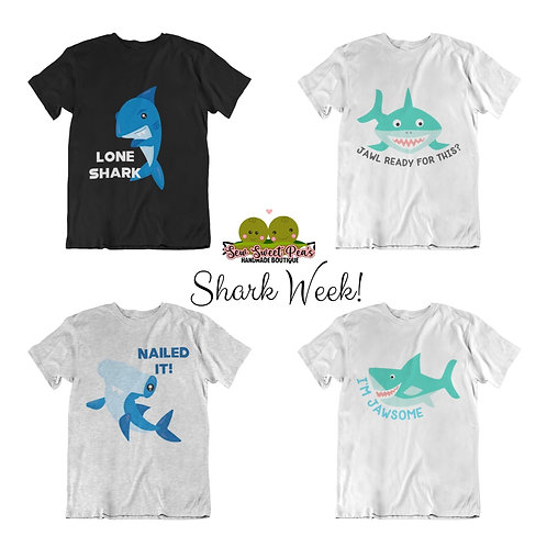 Shark week youth T-shirts Sizes S-XL, short sleeved,