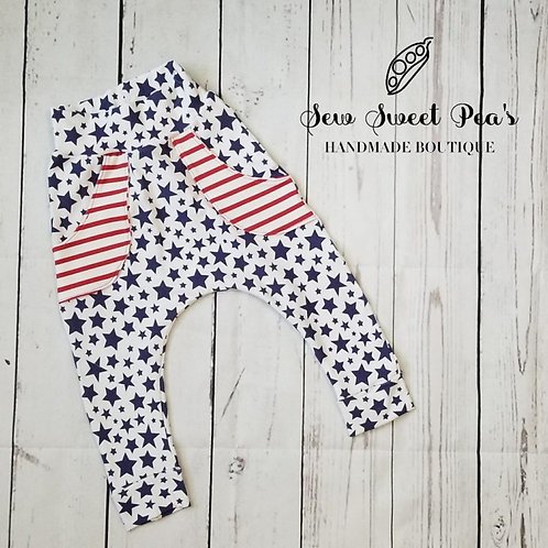 Stars and stripes harem pocket pants, patriotic pants, flag inspired, play pants