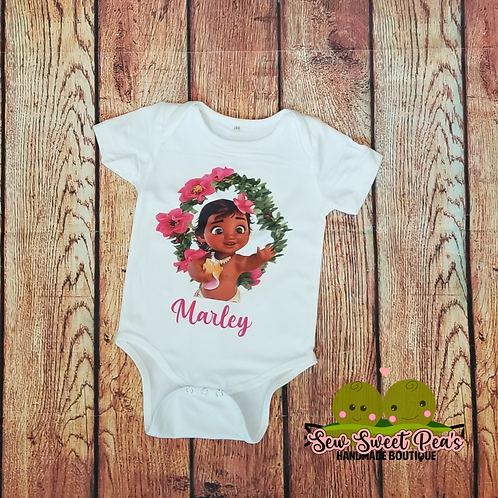 Baby polynesian princess onsie, with personalization available, sizes 3m-24m