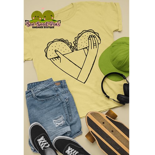 Taco Heart Adult Tshirts Sizes S-XL, short sleeved, WH