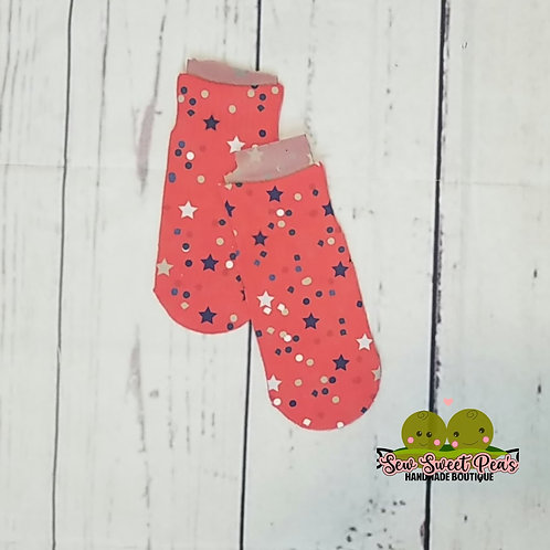 Toddler sock, blue and white stars on red sizes 6-11