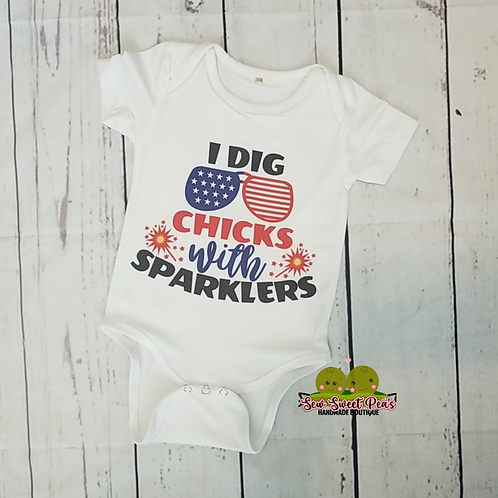 Chicks with Sparklers onsie sizes 3m-24m available, 4th of july